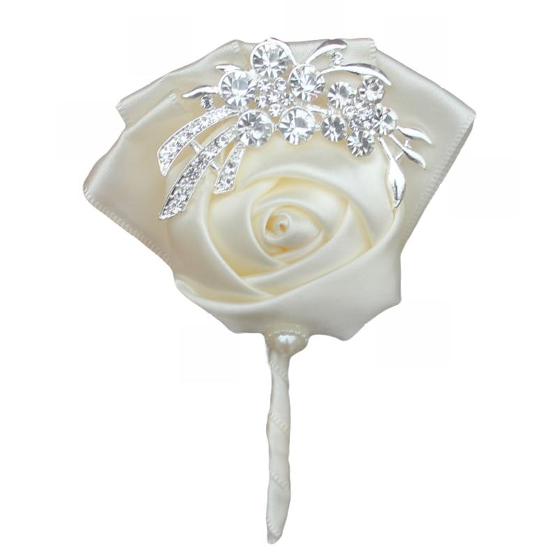WifeLai-A Handgjorda Pure Color Bouquet Corsage Diamond Rose - Bröllopstillbehör - Foto 3