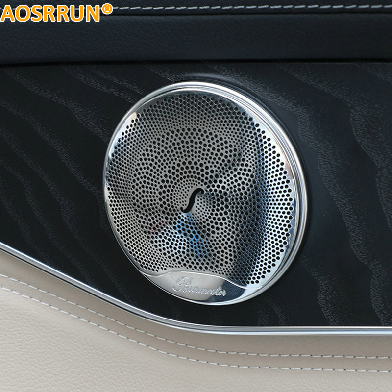 AOSRRUN ABS Audio Sound Cover Car Accessories For Mercedes Benz C-Class C200 C180 C300 W205 2015 2016 bjmycyy stainless steel exhause air filter 2 to 4 cover car accessories for mercedes benz c class sedan w205 c200 c180 2015 2016