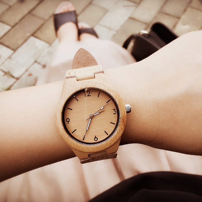 2017 festival Memorial Day gift Enmex lady size simple light colour Bamboo wristwatch handmade natural wood