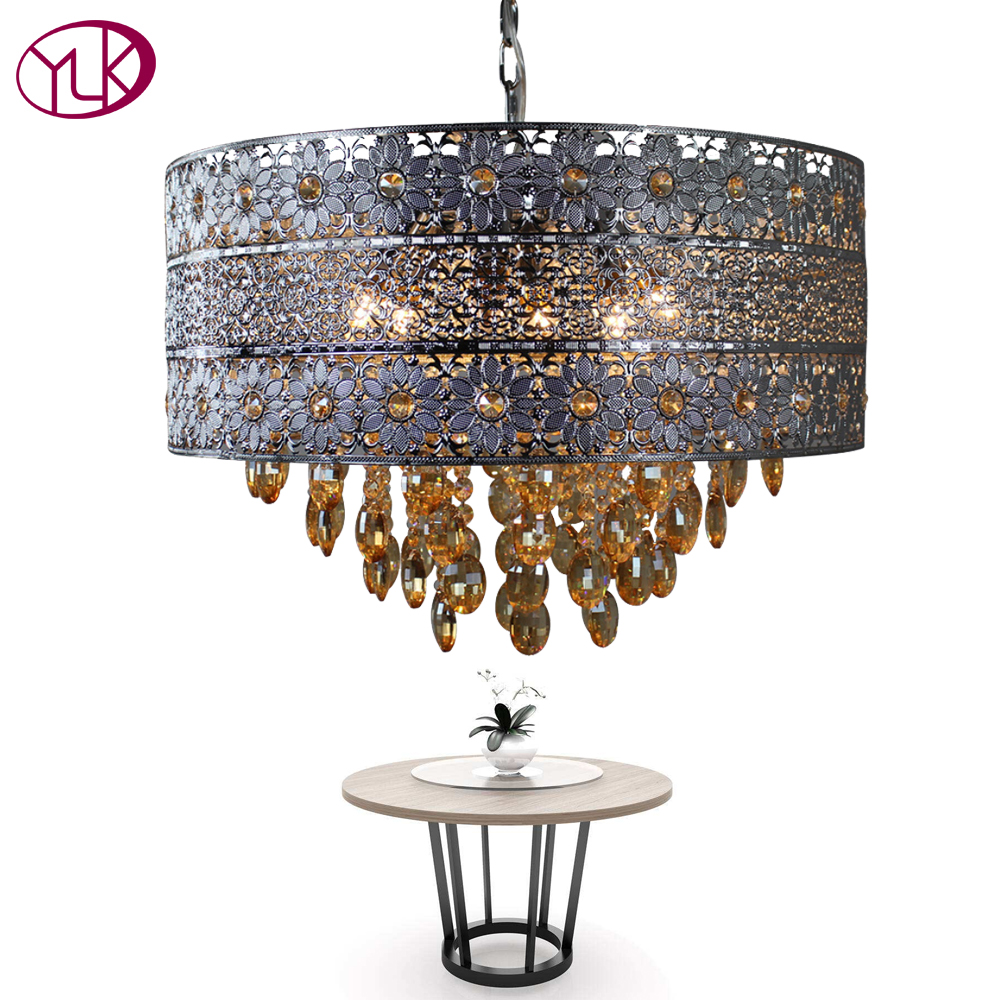 Youlaike New Modern Chandelier Lighting Luxury Dining Room Crystal Lamp Round Chrome LED Cristal Lustres Iron Chain Hanging Lamp chrome round crystal chandelier