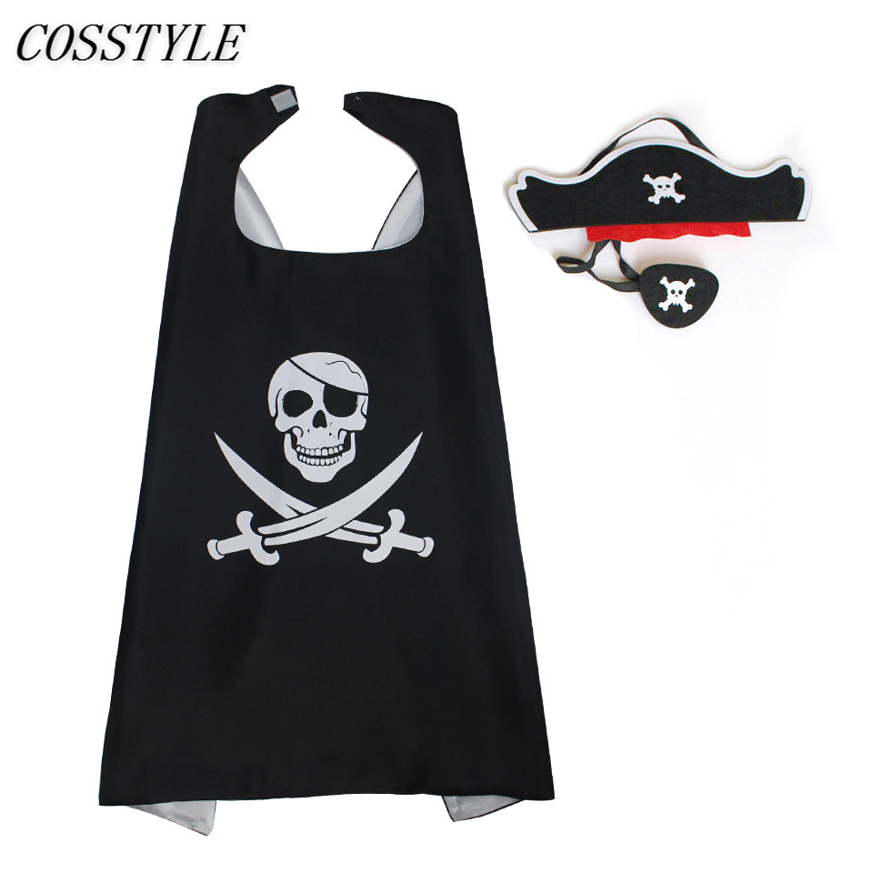 2018 New Pirate Cape with Headwear for Kids Halloween Party Fancy Dress Child Boys Girls Pirate Cosplay Costumes Props Sets