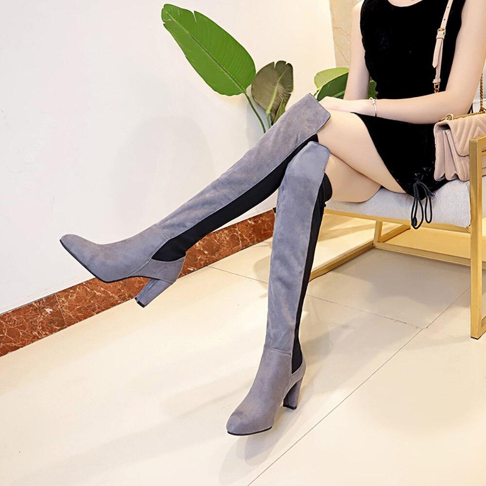Noir Genou Talons Bottes Faux Femmes Au Les Stretch Mince gris Chaussures rouge Haute Sur nwPqZ6W41q