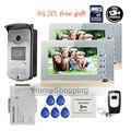 "Free Shipping BRAND 7"" Color Video Door Phone Intercom Kit + 2 Recording Screen + 1 RFID Access Door Camera + 8G SD + WHOLESALE"