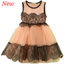 2016 Summer New 2-7Y Kids Dresses Sleevess Mesh Flower Lace Girls Summer Dress Patchwork Party Dress Pink Apricot Freeshipping