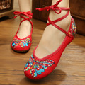 New Fashion Women Shoes Chinese Style Mary Jane Flats Embroidery Casual Cloth Shoes Size 35-41