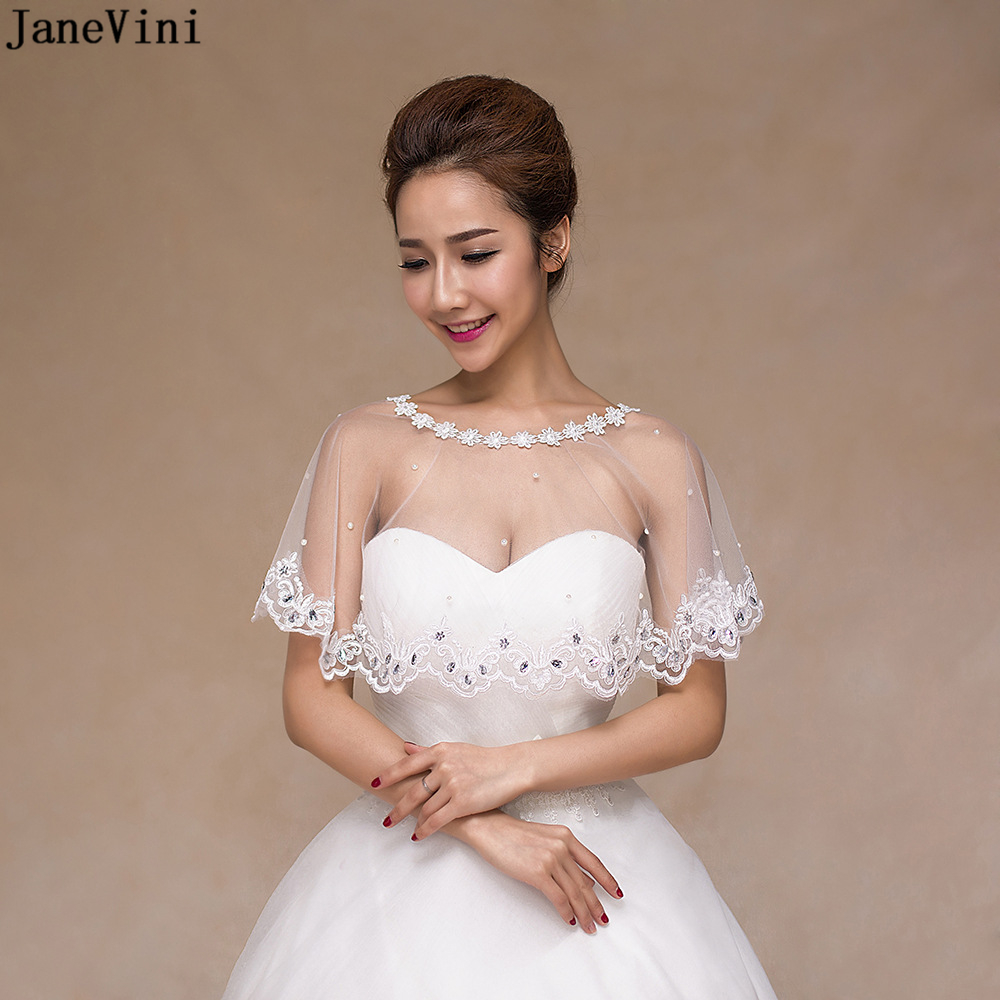 Us 15 81 49 Off Janevini Fashion Summer White Wedding Lace Bolero Appliques Crystal Bridal Shrug Shawl For Wedding Jackets Brides Accessories In