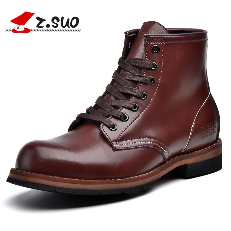 Z. SUO/осенние/зимние Для мужчин ботильоны мода круглый носок короткие сапоги на шнуровке в британском стиле с высоким берцем из натуральной к...