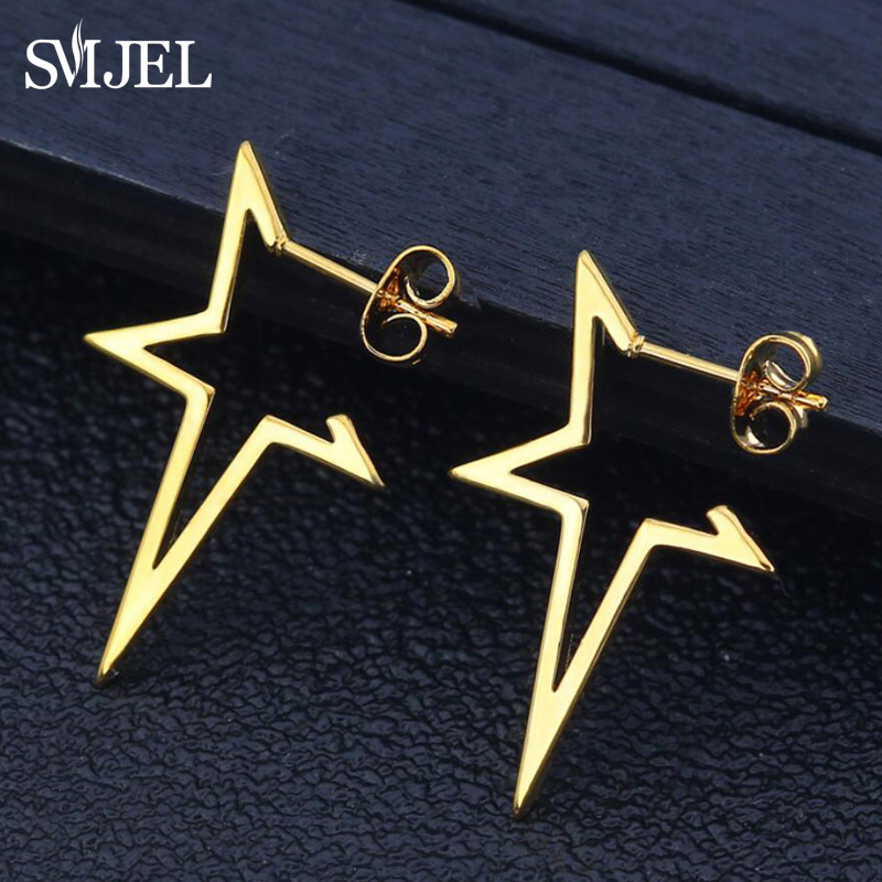 SMJEL Star Earrings Punk Stud Earring Rose Gold Color Earings Stainless Steel Earrings For Women Jewelry Wholesale Oorbellen