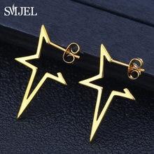 Orecchini stella SMJEL orecchini Punk orecchini Color oro rosa orecchini in acciaio inossidabile per gioielli da donna orecchini all'ingrosso