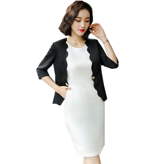 Fmasuth Women Dress Suit Set Ladies 3 4 Sleeve Wave Style Black