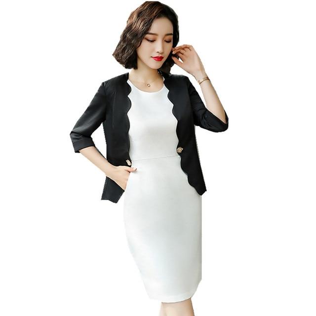 Fmasuth Women Dress Suit Set Ladies 3 4 Sleeve Wave Style Black