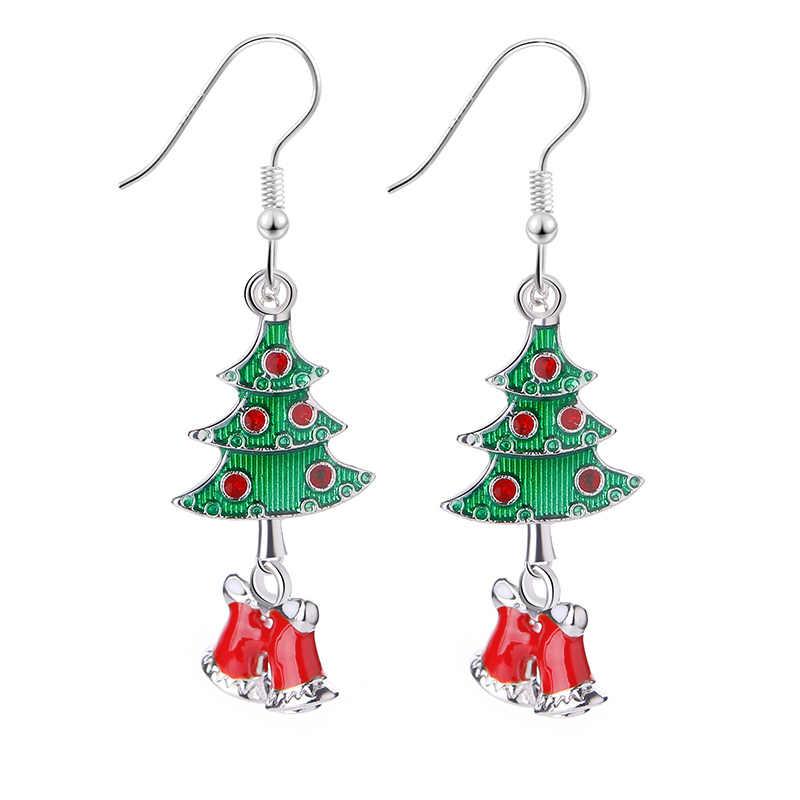Adornos de Navidad pendientes de regalo de Papá Noel pendiente campana árbol de Navidad pendientes Donut elk brincos Coloridos calcetines esmaltados x-mas