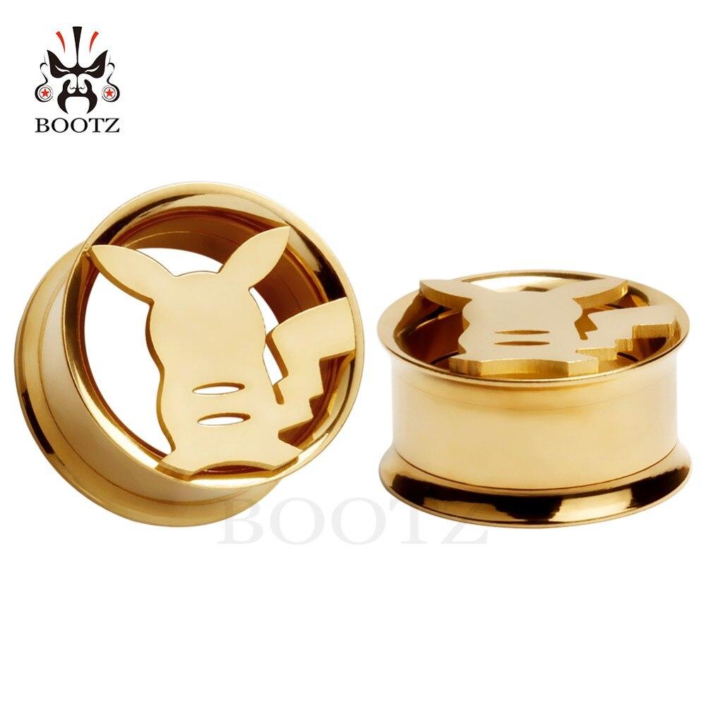 KUBOOZ bouchons d'oreilles en acier inoxydable Piercing corps vis Tunnels civières mignon mode bijoux boucles d'oreilles expanseur pour cadeau 2 pièces 0G