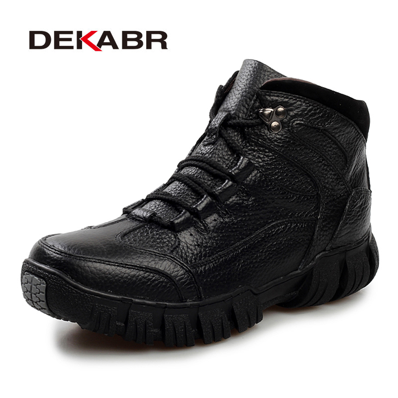 DEKABR Genuine Leather High Quality Men Boots Autumn Winter Shoes Men Fashion Lace-up Boots Waterproof Leather Male Boots