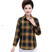 7f396e07c874ae Women Shirt Spring 2019 Casual Mid Age Mother Plaid Plus Size Female Ladies  Womens Tops And. Camisa das mulheres da Primavera ...