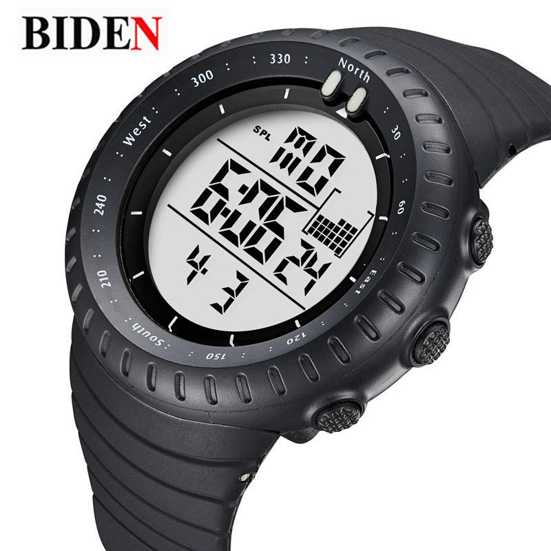 Prix pour Relogio Masculino BIDEN Numérique Montres hommes sport 50 M Étanche Quartz grand cadran militaire Lumineux montres Homme Horloge