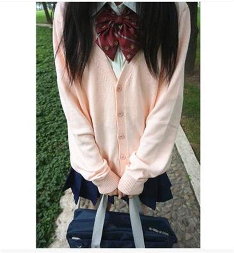 Japan School Cardigan School Uniform Knit Sweater Girls Long Sleeve V neck Outerwear Female Knitted cardigan