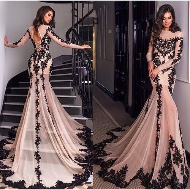 Full Sleeve Mermaid Prom Dresses