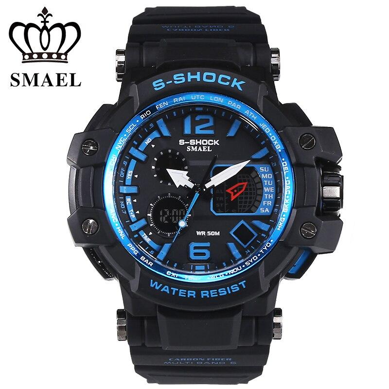 SMAEL Marque Hommes Sport Montres montre homme LED Numérique Étanche Militaire Montre relogios Casual S Choc Mâle Horloge reloj hombre
