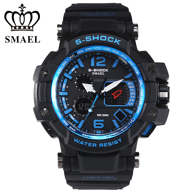 SMAEL Brand Men Sport Watches montre homme LED Digital Waterproof Military Watch relogios Casual S Shock Male Clock reloj hombre