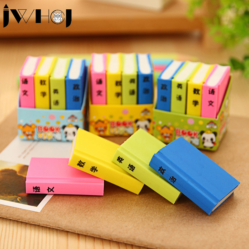 4 Pcs/bag  Novelty Color Books Shape Rubber Eraser Kawaii Stationery School Supplies Papelaria Gifts For Kids