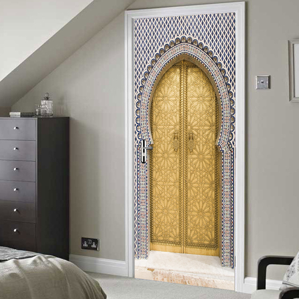 3D Door Sticker Muslim Retro Door Household Wallpaper Stickers Bedroom Parlor Corridor Door Decoration PVC Wall Sticker