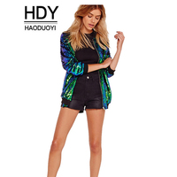 2017Autumn Women 5 Color Sequined Jacket Casual Fashion Long Sleeve Basic Coats Preppy Blingbling Mermaid Party