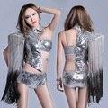 Plata traje cantante dancer dress ds traje paillette sexy borla femenina apsaras del vuelo dj twirled discoteca espectáculo
