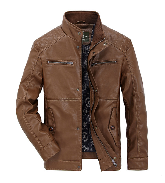 The New High Quality Male Sheep Leather Jacket Big Yards Men Leisure Leather Coat Men's Motorcycle Leather Jackets