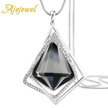 Ajojewel Fashion Womens Geometric Crystal Pendant Necklace Sweater Chain Long Necklaces 2019 Party Jewelry Bijoux