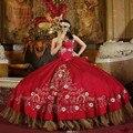Fúcsia vermelho Ouro Bordados Debutante Doce 16 Vestidos Quinceanera Vestido De Bola Vestidos de 15 años Princesa Masquerade Vestido de Festa