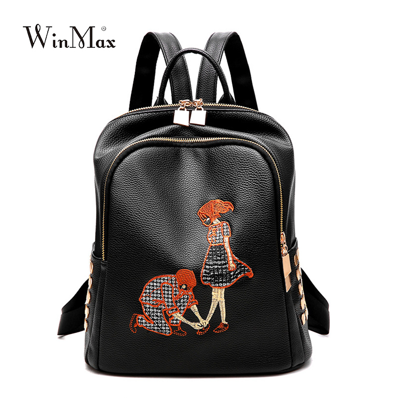 Fashion soft Leather Backpack School Bags For Teenagers Girls boys travel Bag Designer Famous couple couple lover pack Mochilas брелок couple lover keychain