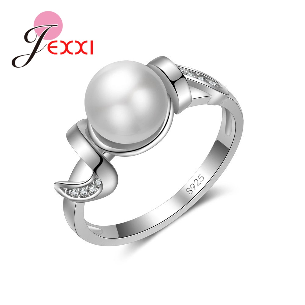 European  American Popular Round Spherical 925 Sterling Silver Pliers Small Crystal Ring Jewelry Christmas Gift