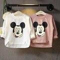 Primavera otoño muchacha de Los Niños Camisetas de La Camiseta de Manga Larga Tees Precioso Paño de Los Niños de los Bebés de Mickey de la manera artículo: bc-5263