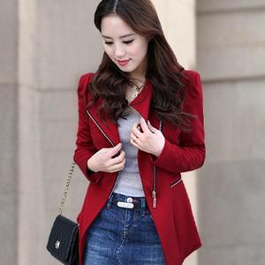 Image 2 - Fashion Women Jacket Long Sleeve Top Office Lady Zipper Blazer Suit Slim Fit Lapel Jacket Tops Coat Polyester Formal Outwear