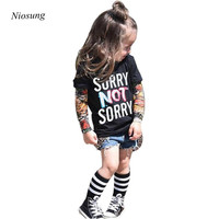 Niosung Fashion Infant Toddler Kids Baby Boy Girl Long Sleeve Tattoo Print T Shirt Tops Clothes