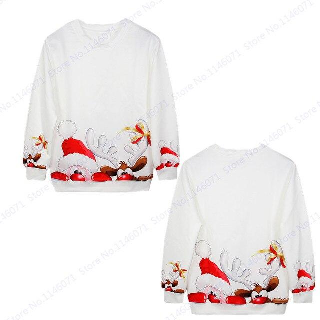 Witte Kersttrui.Grappige Kerstman En Rendieren Mens Sweatshirts Witte Kerst Trui