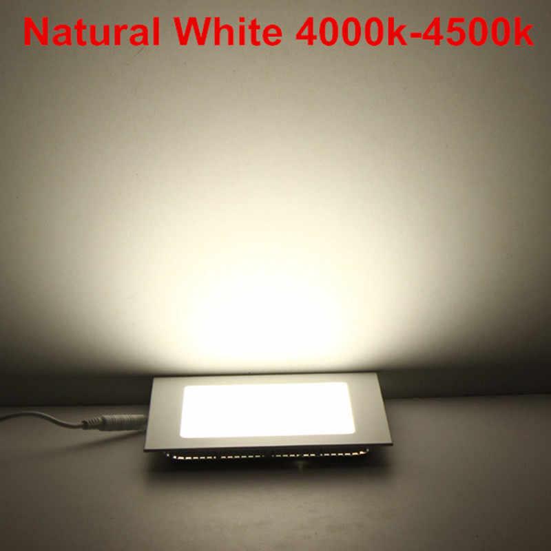 Светодиодный светильник с регулируемой яркостью, квадратный панельный светильник, 3 Вт, 4 Вт, 6 Вт, 9 Вт, 12 Вт, 15 Вт, 25 Вт, Потолочный встраиваемый светильник, теплый/натуральный/холодный белый