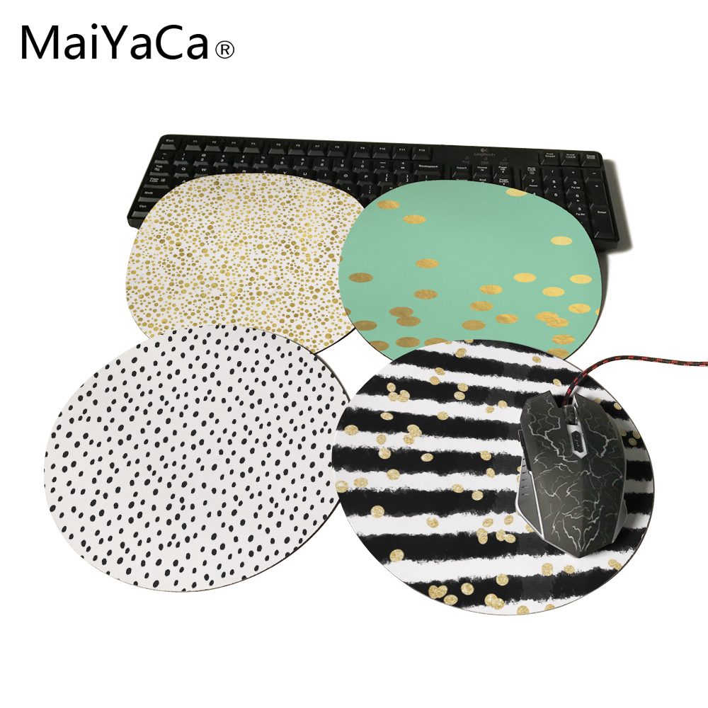 modern black watercolor stripes chic gold confetti prints Mouse Pad Small Size Round Gaming Non-Skid Rubber Pad