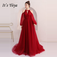 It's Yiiya Evening Dresses Long Sleeve 2018 Sexy Backless Floor Length Tulle Fashion Designer Evening Dress Party Gown LX915