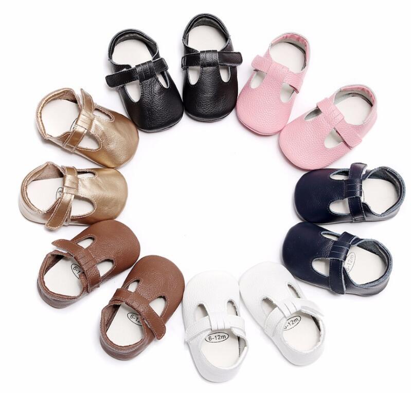 Новый стиль Натуральная кожа Мэри Джейн обувь резиновая подошва детские мокасины обувь новорожденных первых шагов туфли Т-бар для 0-24 м ...