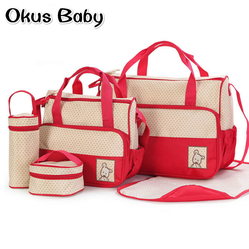 New Design Baby Care Bag 5pcs Baby Diaper Bag Suits For Mom Baby Bottle Holder Mother Mummy Stroller Maternity Nappy Bags Sets high quality cute dot baby diaper nappy bag maternity baby bags for mom multifunctional mother care bag durable stroller bag