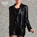 Jaquetas mulheres 100% da pele de Carneiro preto de couro genuíno revestimento da motocicleta jaqueta de couro veste en cuir femme croped LT168 NAVIO LIVRE