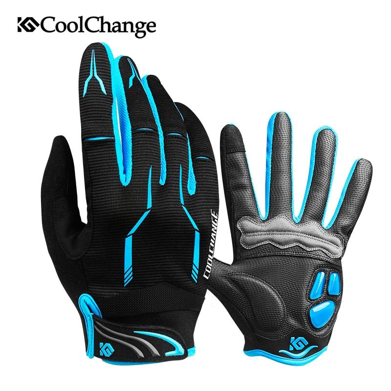 CoolChange зимние велосипедные перчатки Сенсорный экран гель велосипед перчатки Спорт противоударный MTB дорога полный палец перчатки велосипед для Для мужчин женщина