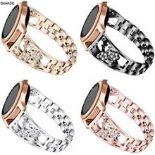 Pulseiras de diamante para samsung galaxy assista 46mm 42mm engrenagem s3 s2 pulseira de aço inoxidável para huawei relógio gt flor pulseira