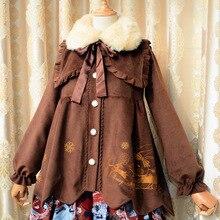 Новинка; зимнее женское милое шерстяное пальто; шерстяное пальто с меховым воротником; милое мягкое пальто с кроликом из мультфильма; длинное рождественское пальто красного цвета
