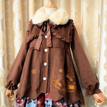 2016 new Soft christmas red brown white wool thermal woolen coat fake fur collar cloak outerwear rabbit bunny pattern overcoat