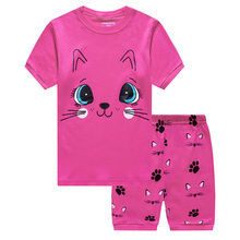 Summer Girl Pajamas Rose Red Cute Big Eyes Female Baby Cotton Home Sleepwear Set