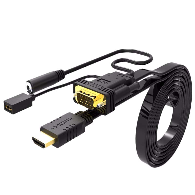 Hdmi To Vga Adapter Cable With Audio Converter With Power Supply Male To Female For Pc Hdtv Monitor 1080P