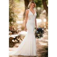 Fit And Flare Crepe Wedding Dress With Lace Appliques Halter Sexy Mermaid Backless Sleeveless Bridal Gown все цены